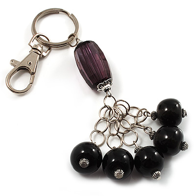 Silver Tone Ceramic Bead Charm Keyring/ Bag Charm (Black)