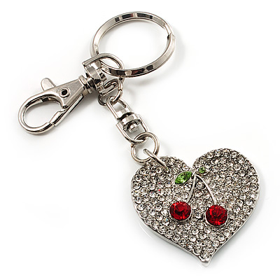 Silver Tone Swarovski Crystal Heart & Cherry Keyring/ Bag Charm - main view