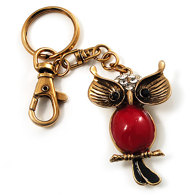 Vintage Enamel Crystal Owl Keyring/ Bag Charm (Antique Gold Finish)