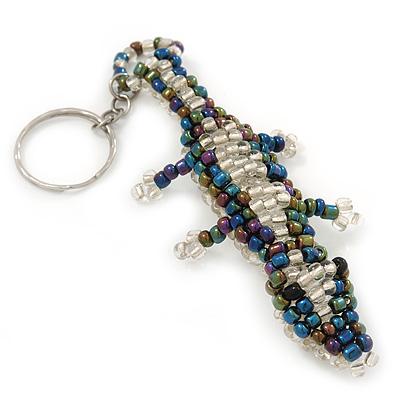 Peacock/ Transparent Glass Bead Crocodile Keyring/ Bag Charm - 17cm Length
