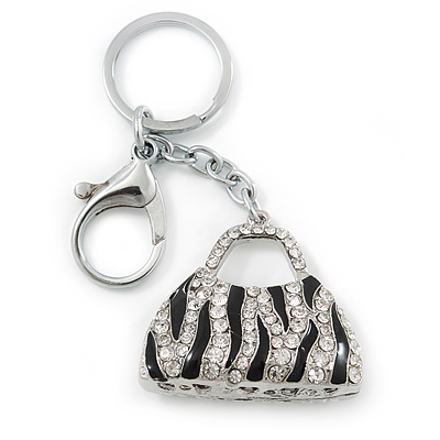 Rhodium Plated Clear Crystal, Black Enamel Puffed Bag Keyring/ Bag Charm - 9cm Length