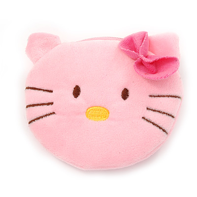 Ligth Pink Kitty Fabric Coin Purse/ Bag Charm for Kids - 10.5cm Width