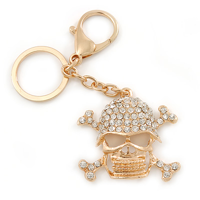Clear Crystal Skull & Crossbones Keyring/ Bag Charm In Gold Tone - 12cm L