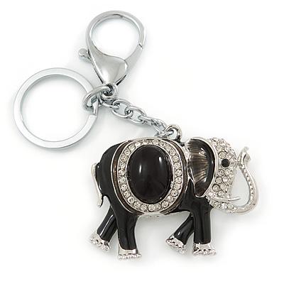 Crystal Black Enamel Elephant Keyring/ Bag Charm In Silver Tone - 12cm L