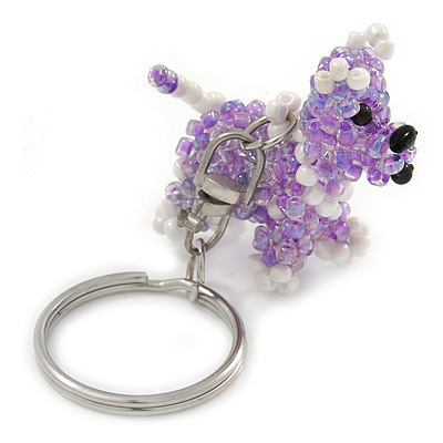 Lavender/ White Glass Bead Scottie Dog Keyring/ Bag Charm - 8cm L