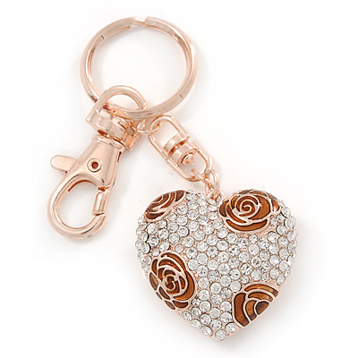 Gold Plated Brown Enamel Flower Pave Set Clear Crystal Puffed Heart Keyring/ Bag Charm - 100mm L