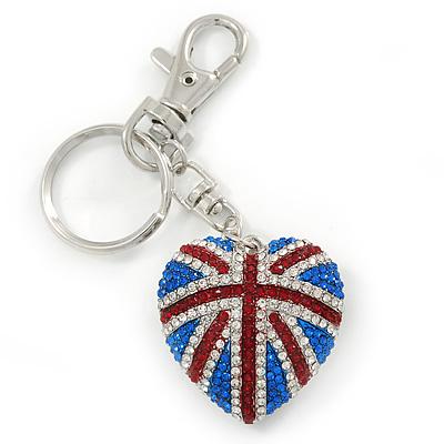 Patriotic Pave Set Austrian Crystal Union Jack Puffed Heart Keyring/ Bag Charm In Rhodium Plating - 100mm L