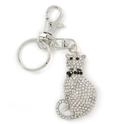 Clear/ Black Austrian Crystal Cat Keyring/ Bag Charm In Rhodium Plated Metal - 11cm L