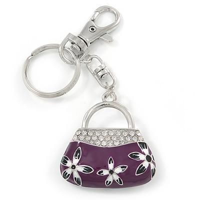Rhodium Plated Clear Crystal, Violet/ Purple Enamel Puffed Bag Keyring/ Bag Charm - 11cm Length