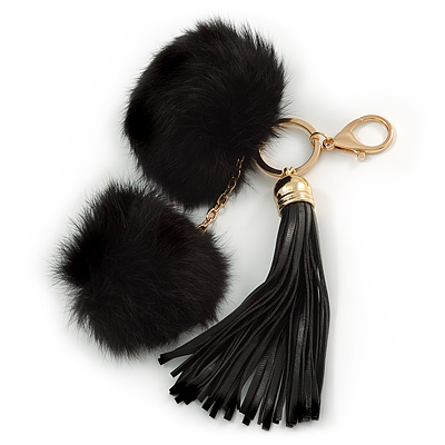 Black Faux Fur Pom-Pom and Black Faux Leather Tassel Gold Tone Key Ring/ Bag Charm - 21cm L