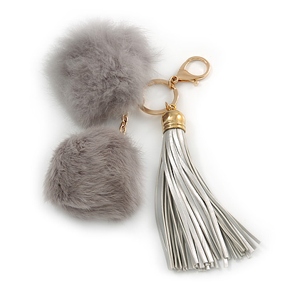 Ivy Grey Faux Fur Pom-Pom and Light Metallic Silver Faux Leather Tassel Gold Tone  Key Ring/ Bag Charm - 21cm L