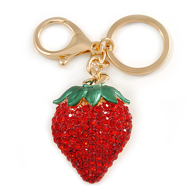 Red Crystal, Green Enamel Strawberry Keyring/ Bag Charm In Gold Tone Metal - 9cm L