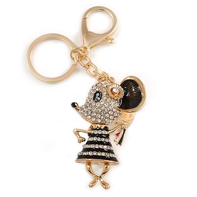Clear Crystal, Black Enamel Dancing Mouse Keyring/ Bag Charm In Gold Tone Metal - 10cm L