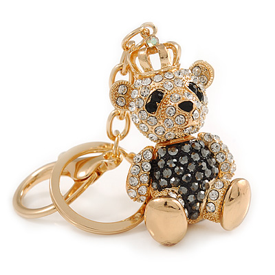 Hematite/ Clear Crystal Royal Teddy Bear Keyring/ Bag Charm In Gold Tone Metal - 10cm L