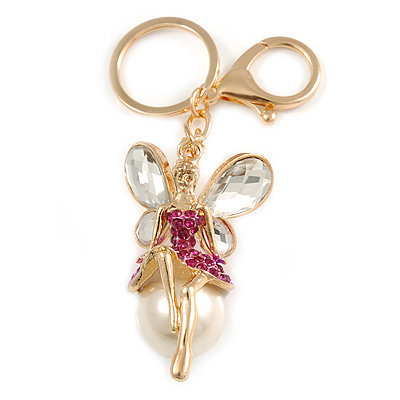 Magenta Crystal White Glass Fairy With Pearl Style Ball Keyring/ Bag Charm In Gold Tone Metal - 10cm L