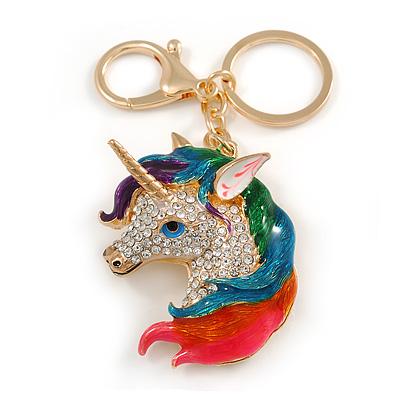 Clear Crystal, Multicoloured Enamel Unicorn Keyring/ Bag Charm In Gold Tone Metal - 10cm L