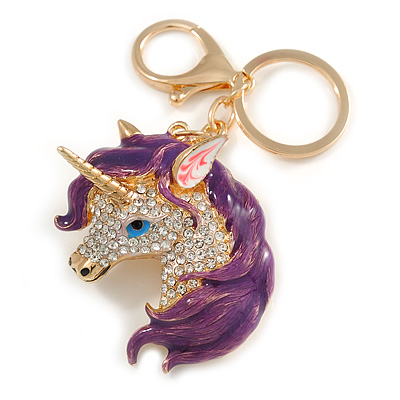 Clear Crystal, Purple Enamel Unicorn Keyring/ Bag Charm In Gold Tone Metal - 10cm L