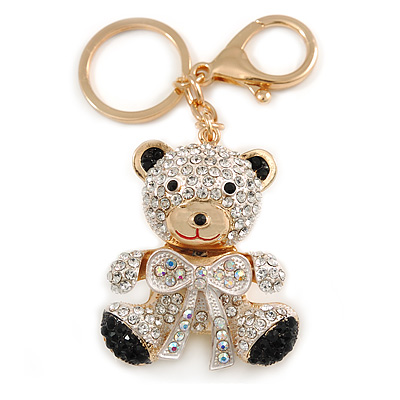 Clear/ Ab/ Black Crystal Teddy Bear with Bow Keyring/ Bag Charm In Gold Tone Metal - 9cm L