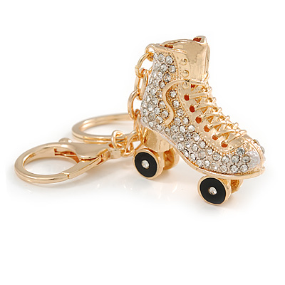 Clear Crystal, Black Enamel Roller Skate Boot Keyring/ Bag Charm In Gold Tone Metal - 9cm L