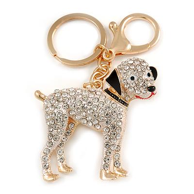 Clear Crystal Dog Keyring/ Bag Charm In Gold Tone Metal - 10cm L