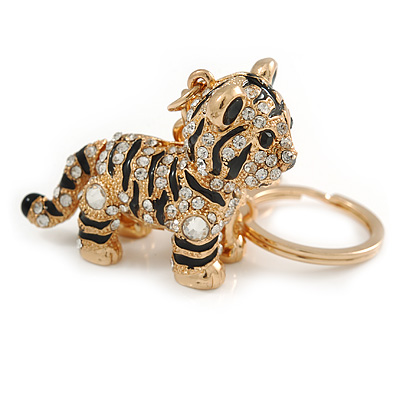 Clear Crystal, Black Enamel Baby Tiger Keyring/ Bag Charm In Gold Tone Metal - 7cm L
