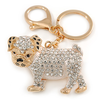 Clear Crystal White/ Black Enamel Bulldog Dog Keyring/ Bag Charm In Gold Tone - 7cm L