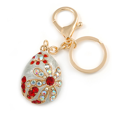 Ab/ Red Crystal Off White Enamel Happy Easter Egg Keyring/ Bag Charm In Gold Tone Metal - 8cm L