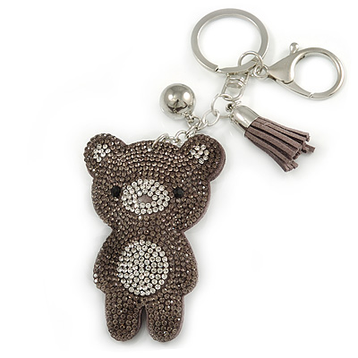 Grey/ Clear Crystal Baby Bear Keyring/ Bag Charm In Silver Tone Metal - 13cm L