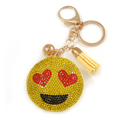 Yellow/ Red/ Black Crystal Smiling Face Keyring/ Bag Charm In Gold Tone Metal - 12cm L