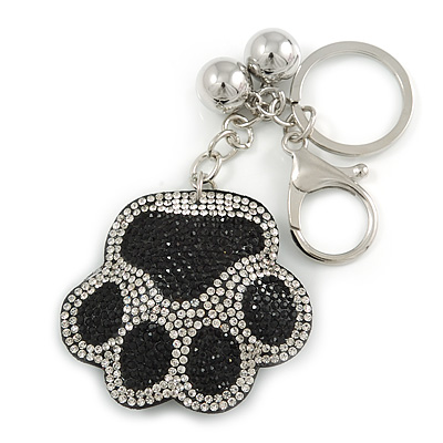 Black/ Clear Crystal Paw Keyring/ Bag Charm In Silver Tone Metal - 11cm L