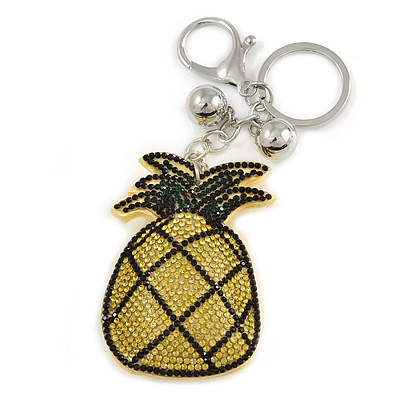 Yellow/ Green Crystal Pineapple Keyring/ Bag Charm In Silver Tone Metal - 11cm L