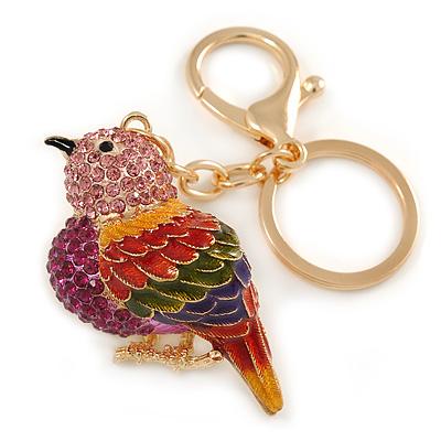 Pink Crystal Multi Enamel Robin/ Bullfinch Bird Keyring/ Bag Charm In Gold Tone Metal - 9cm L