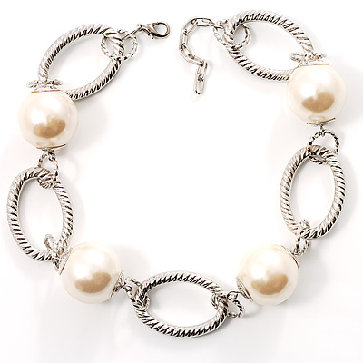 Silver Oval Links Pearl Choker