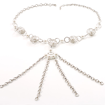Silver Tassel Pearl Style Costume Necklace - main view