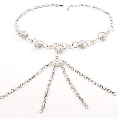 Silver Tassel Imitation Pearl Costume Necklace