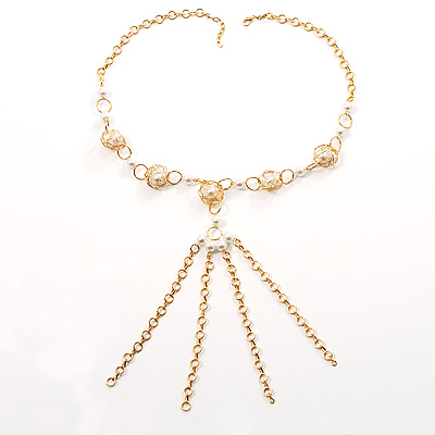 Gold Long Tassel Imitation Pearl Costume Necklace