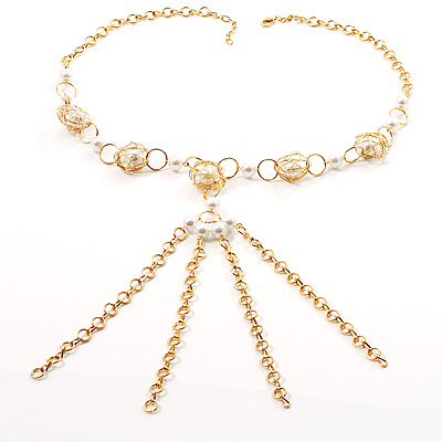 Gold Long Tassel Pearl Style Costume Necklace