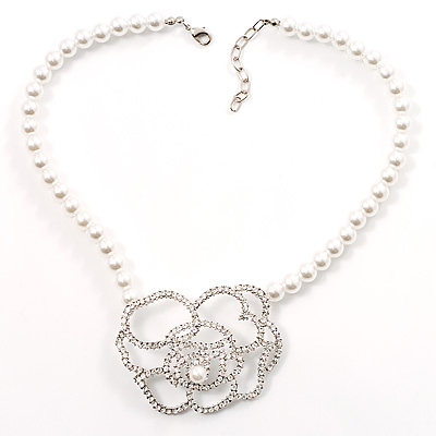 Open Rose Design Imitation Pearl Necklace