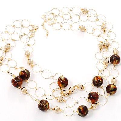 Gold Cirlce Brown Bead Layered Necklace