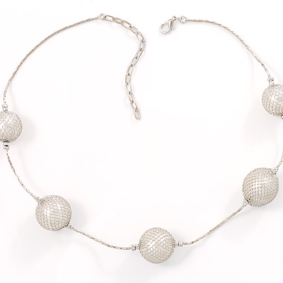Silver Mesh Pearl Style Costume Necklace