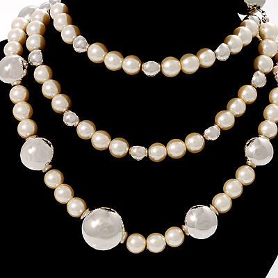 Long Silver-Tone Station Imitation Pearl Necklace