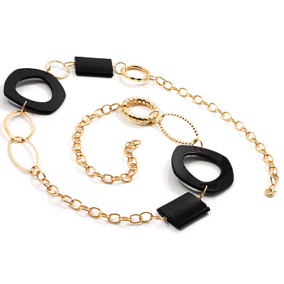 Statement Long Black Plastic Fashion Necklace - main view
