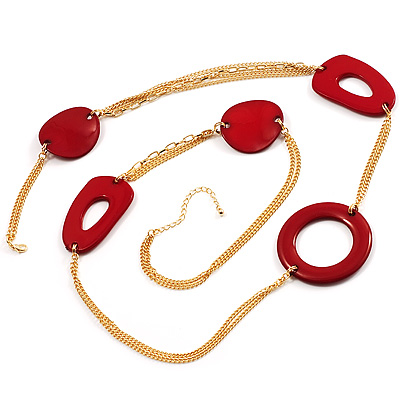 Long Red Geometric Plastic Costume Necklace - 108cm L