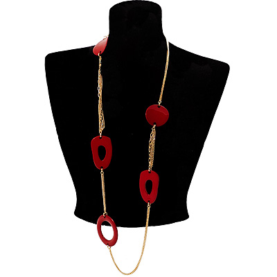 Long Red Geometric Plastic Costume Necklace