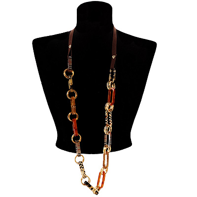 Long Leather Cord Oval Link Perspex Fashion Necklace