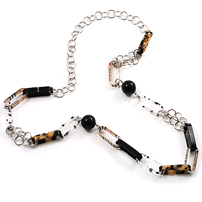 Long Oval Link Perspex Fashion Necklace