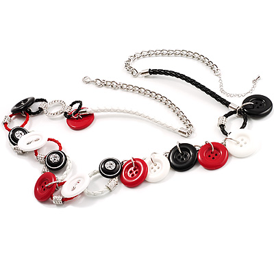 Long White&Black Leather Cord Button Abstract Fashion Necklace
