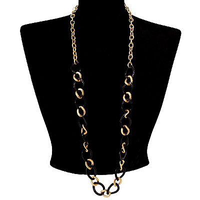 Long Alternate Black And Gold Oval Link Costume Necklace