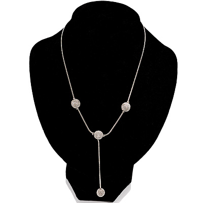 Silver Tone Textured Fashion Drop Necklace