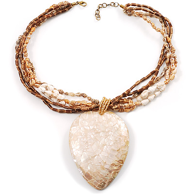 Jumbo Multi Strand Teardrop Shell Safari Pendant Necklace